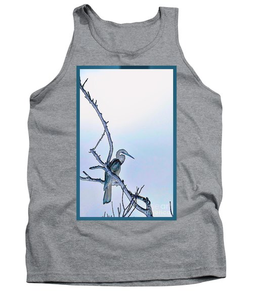 Anhinga In Blue Tank Top by Pamela Blizzard