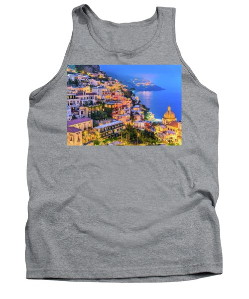 Tank Top featuring the digital art Another Glowing Evening In Positano by Rosario Piazza