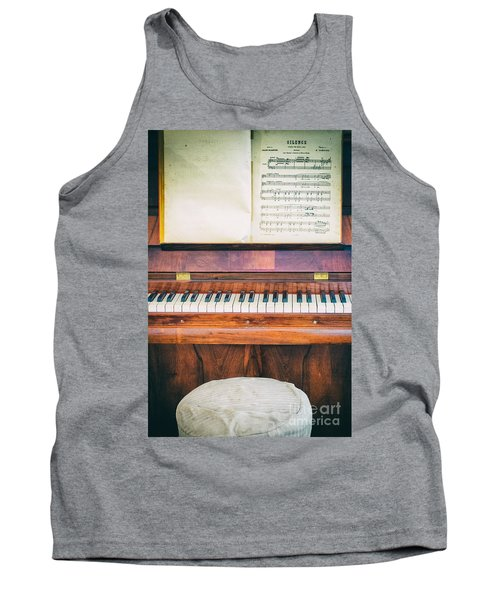 Tank Top featuring the photograph Antique Piano And Music Sheet by Silvia Ganora