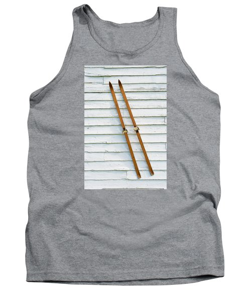 Antique Skis On The Wall Tank Top by Gary Slawsky