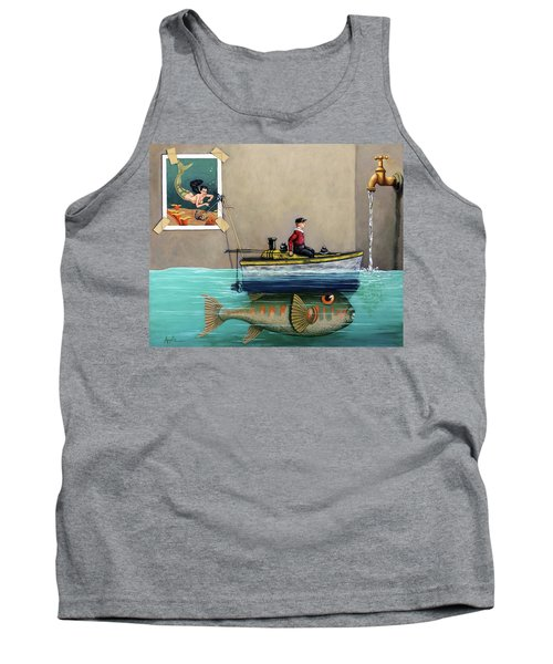 Tank Top featuring the painting Anyfin Is Possible - Fisherman Toy Boat And Mermaid Still Life Painting by Linda Apple