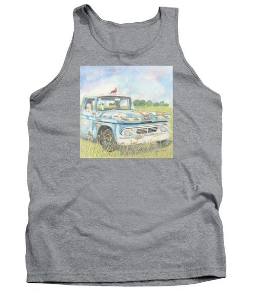 Tank Top featuring the drawing Apache Out To Pasture by Arlene Crafton