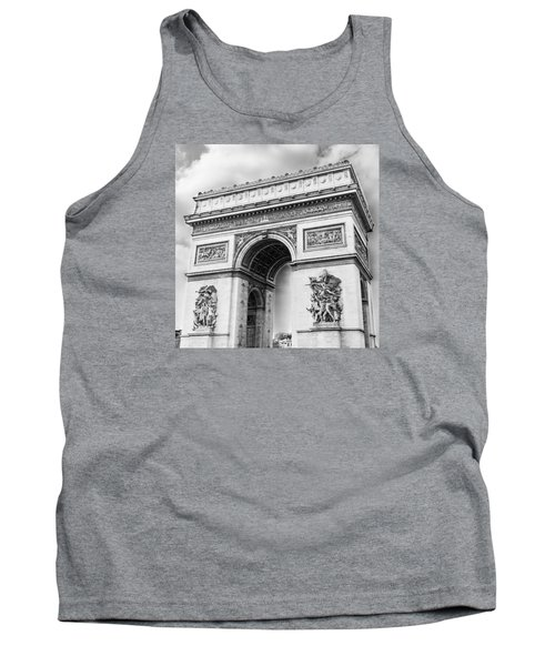 Arch Of Triumph - Paris - Black And White Tank Top