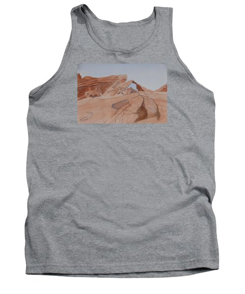Tank Top featuring the painting Arch Rock - A Watercolor Sketch by Joel Deutsch