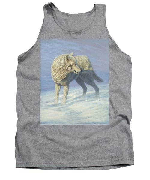 White Wolf In Blowing Snow, Acrylic Painting, Canine Tank Top