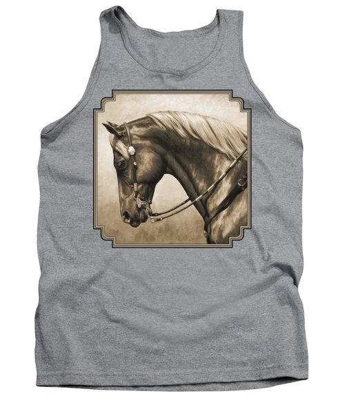 Western Horse Painting In Sepia Tank Top by Crista Forest