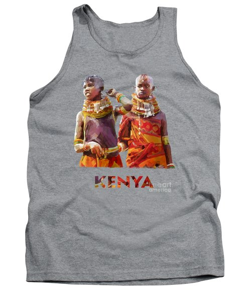Tank Top featuring the painting Young Turkana Girls by Anthony Mwangi