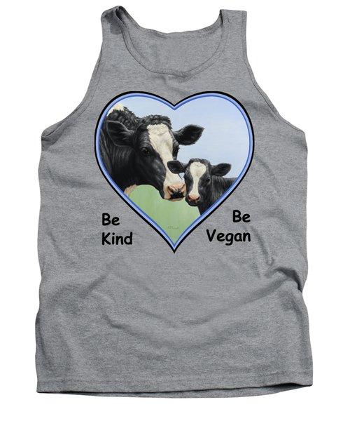 Holstein Cow And Calf Blue Heart Vegan Tank Top