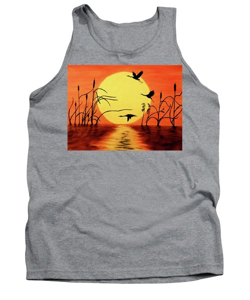 Tank Top featuring the painting Sunset Geese by Teresa Wing