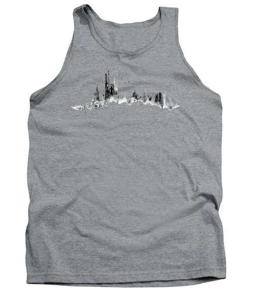White Barcelona Skyline Tank Top by Aloke Creative Store