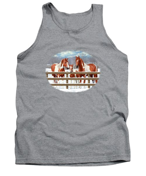 Chestnut Paint Horses In Snow Tank Top
