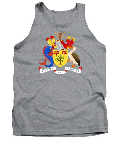 Tank Top featuring the drawing Barbados Coat Of Arms by Movie Poster Prints