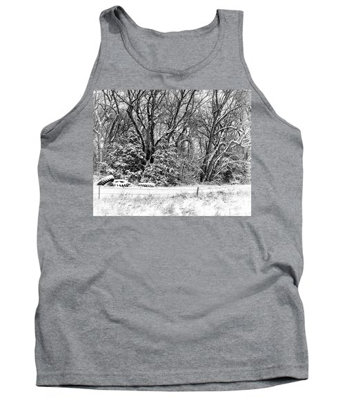 Three Tires And A Snowstorm Tank Top by Bill Kesler