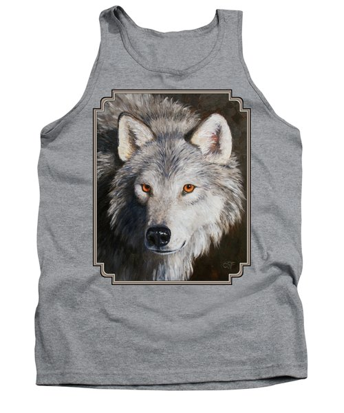 Wolf Portrait Tank Top by Crista Forest