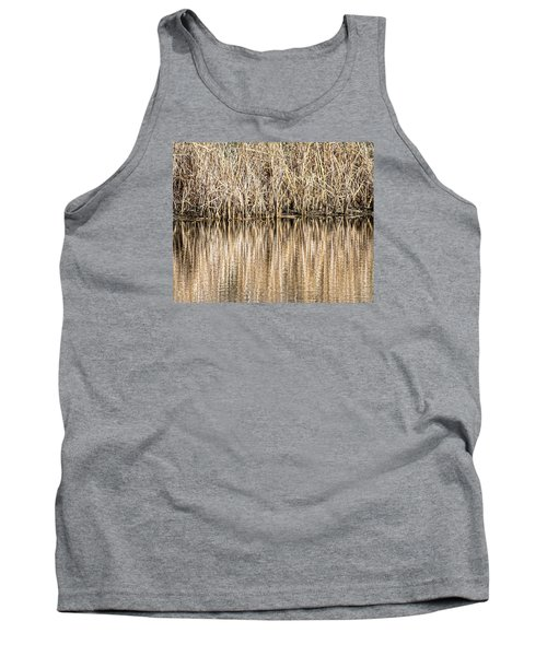 Tank Top featuring the photograph Golden Reed Reflection by Bill Kesler