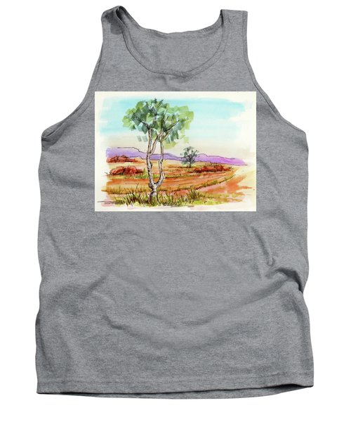 Australian Landscape Sketch Tank Top by Margaret Stockdale