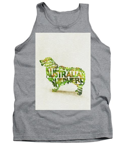 Tank Top featuring the painting Australian Shepherd Dog Watercolor Painting / Typographic Art by Ayse and Deniz