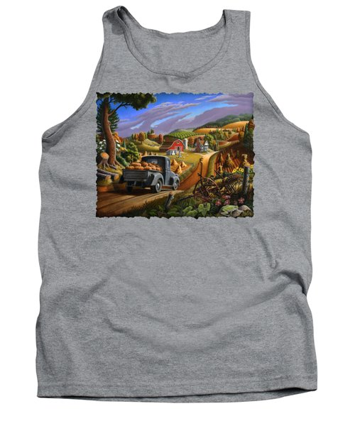 Autumn Appalachia Thanksgiving Pumpkins Rural Country Farm Landscape - Folk Art - Fall Rustic Tank Top