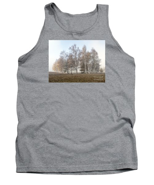 Autumn Landscape In A Birch Forest With Fog Tank Top