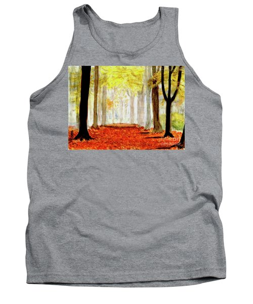 Tank Top featuring the painting Autumn Trail by Yoshiko Mishina