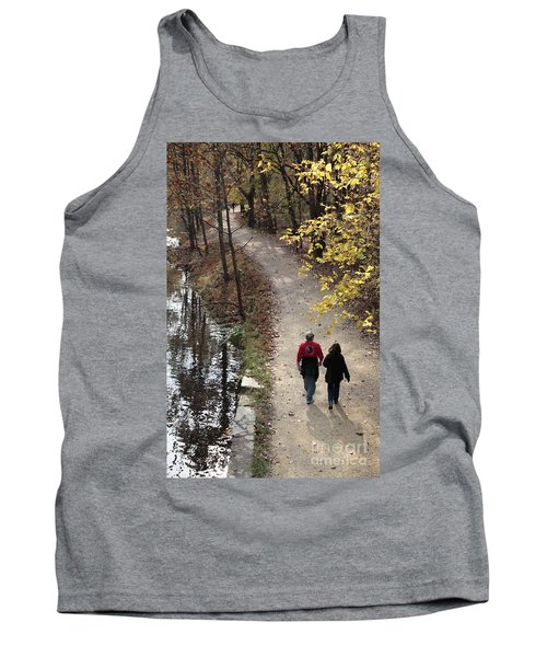 Autumn Walk On The C And O Canal Towpath With Oil Painting Effect Tank Top