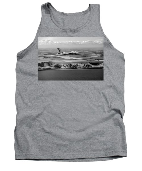 Avro Vulcan Over The White Cliffs Of Dover Black And White Versi Tank Top