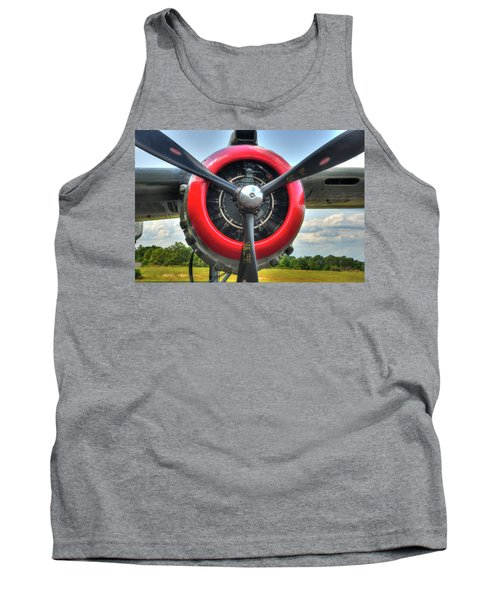Tank Top featuring the photograph B 25 Red Trimmed Engine by Gary Slawsky