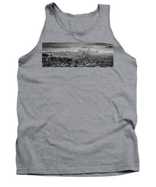 Back And White View Of Downtown San Francisco In A Foggy Day Tank Top