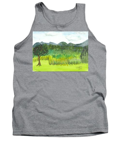 Tank Top featuring the painting Backyard In Barton by Donna Walsh