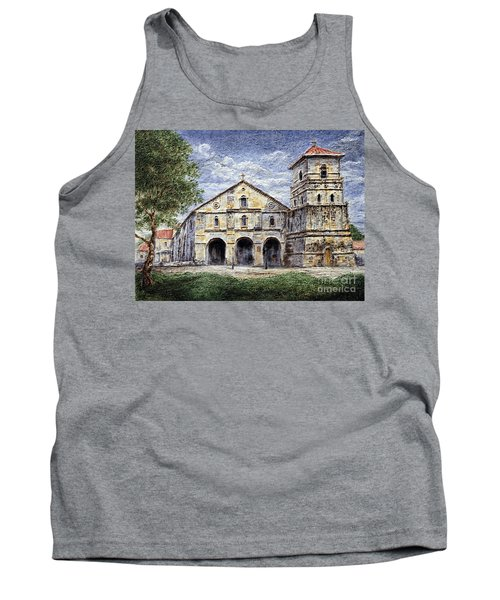 Tank Top featuring the painting Baclayon Church by Joey Agbayani