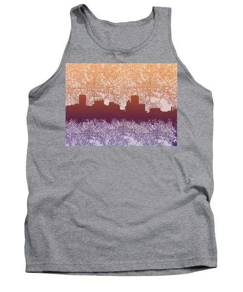 Tank Top featuring the painting Baltimore City Skyline Map by Bekim Art