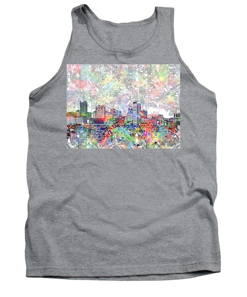 Tank Top featuring the painting Baltimore Skyline Watercolor 11 by Bekim Art