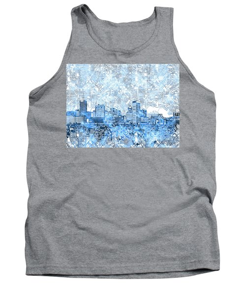 Tank Top featuring the painting Baltimore Skyline Watercolor 9 by Bekim Art