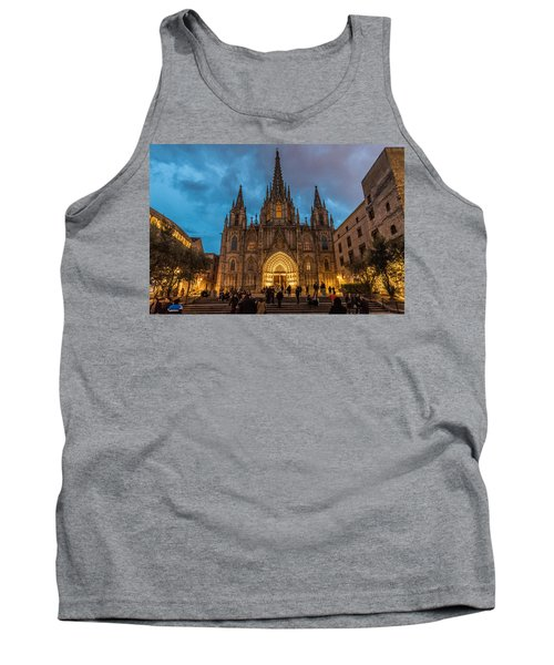 Barcelona Cathedral At Dusk Tank Top by Randy Scherkenbach