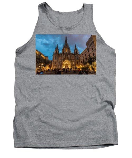 Barcelona Cathedral At Dusk Tank Top
