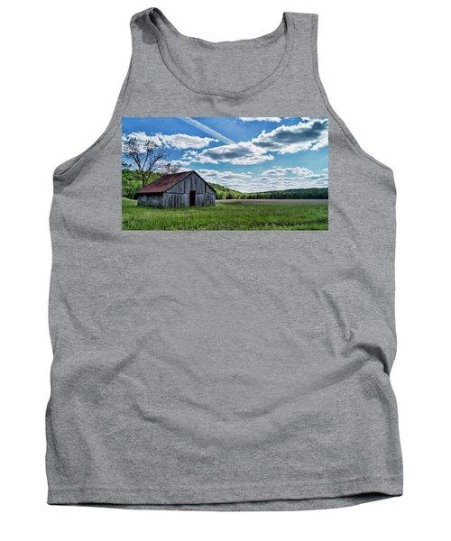 Tank Top featuring the photograph Barn On Cedar Creek Bottoms by Cricket Hackmann