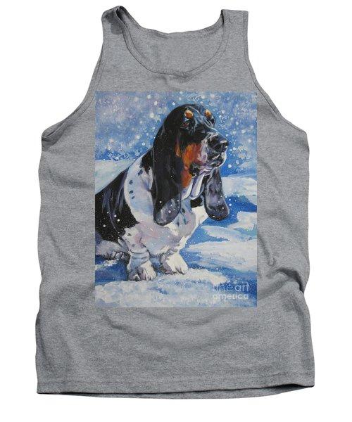 Basset Hound In Snow Tank Top