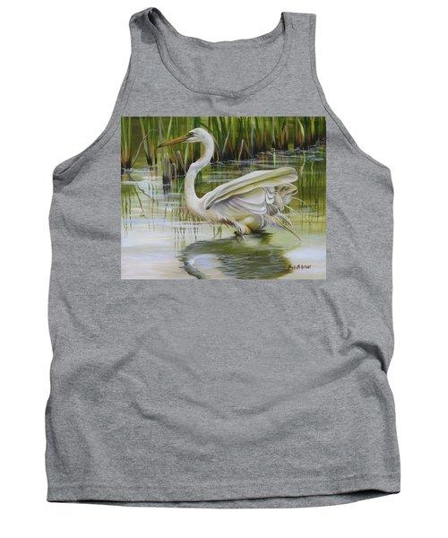 Bayou Caddy Great Egret Tank Top