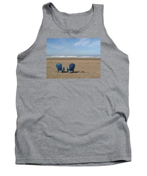 Tank Top featuring the photograph Beach Chair Pair by Suzy Piatt