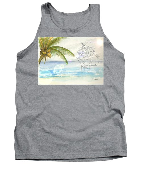 Tank Top featuring the digital art Beach Etching by Darren Cannell