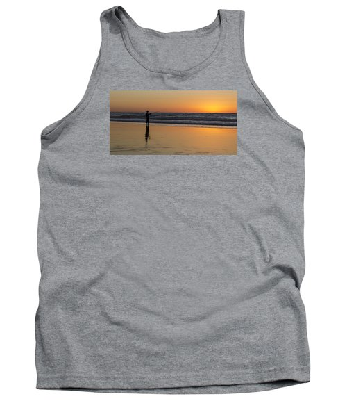 Beach Fishing At Sunset Tank Top