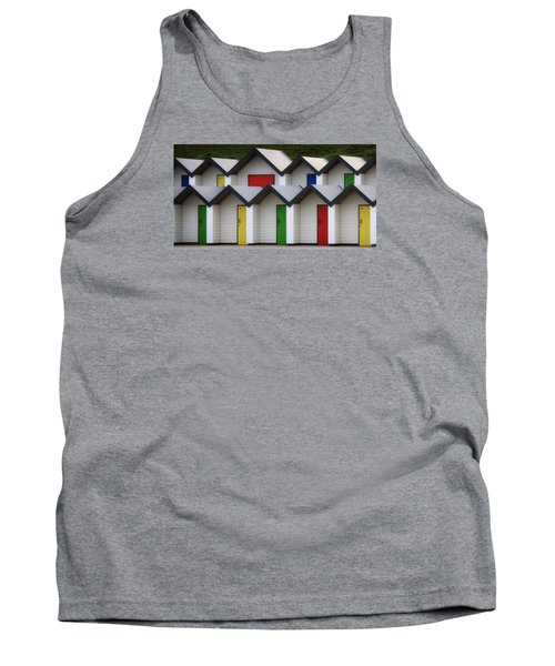 Beach Huts Tank Top by Shirley Mitchell