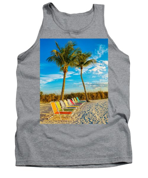 Beach Lounges Under Palms Tank Top