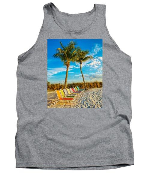 Beach Lounges Under Palms Tank Top