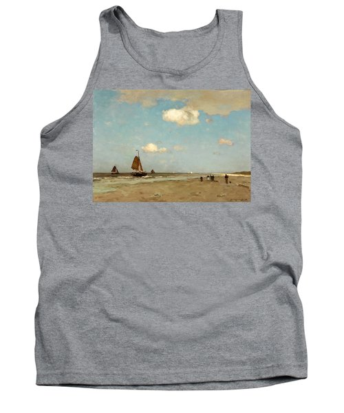 Tank Top featuring the painting Beach Scene by Jan Hendrik Weissenbruch