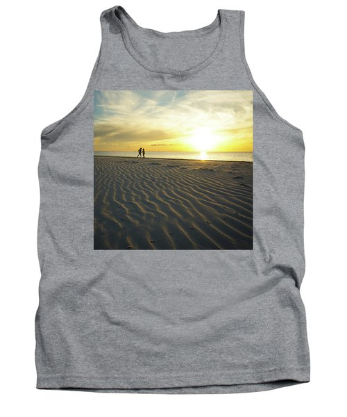 Beach Silhouettes And Sand Ripples At Sunset Tank Top