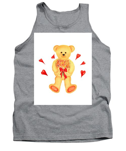 Tank Top featuring the painting Bear In Love by Elizabeth Lock