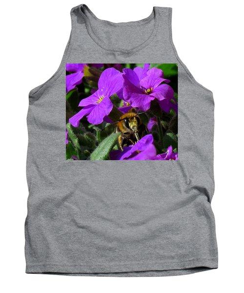 Bee Feeding On Purple Flower Tank Top by John Topman