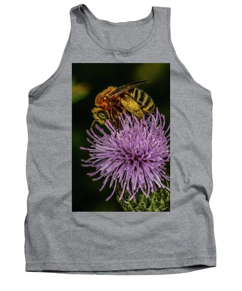 Tank Top featuring the photograph Bee On A Thistle by Paul Freidlund