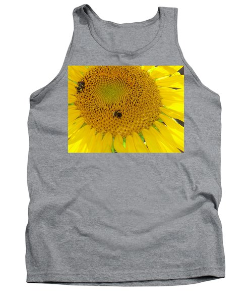 Tank Top featuring the photograph Bees Share A Sunflower by Sandi OReilly